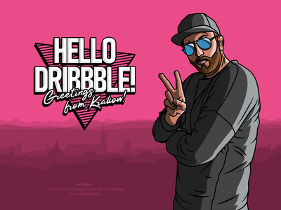 Hello from Krakow! logo design retrowave punchy hello hello dribbble debut colors flat digital illustration typography adobe illustrator vector illustration