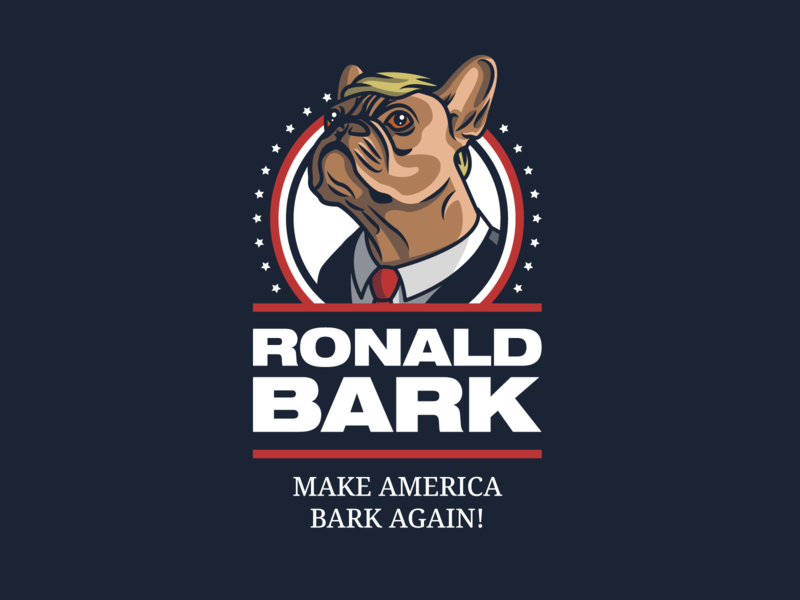 Ronald Bark for President! logo design digital art character art flat design adobe illustrator cc adobe illustrator mascot mascot design mascot logo president donald trump character design character illustrator illustration weekly warm-up