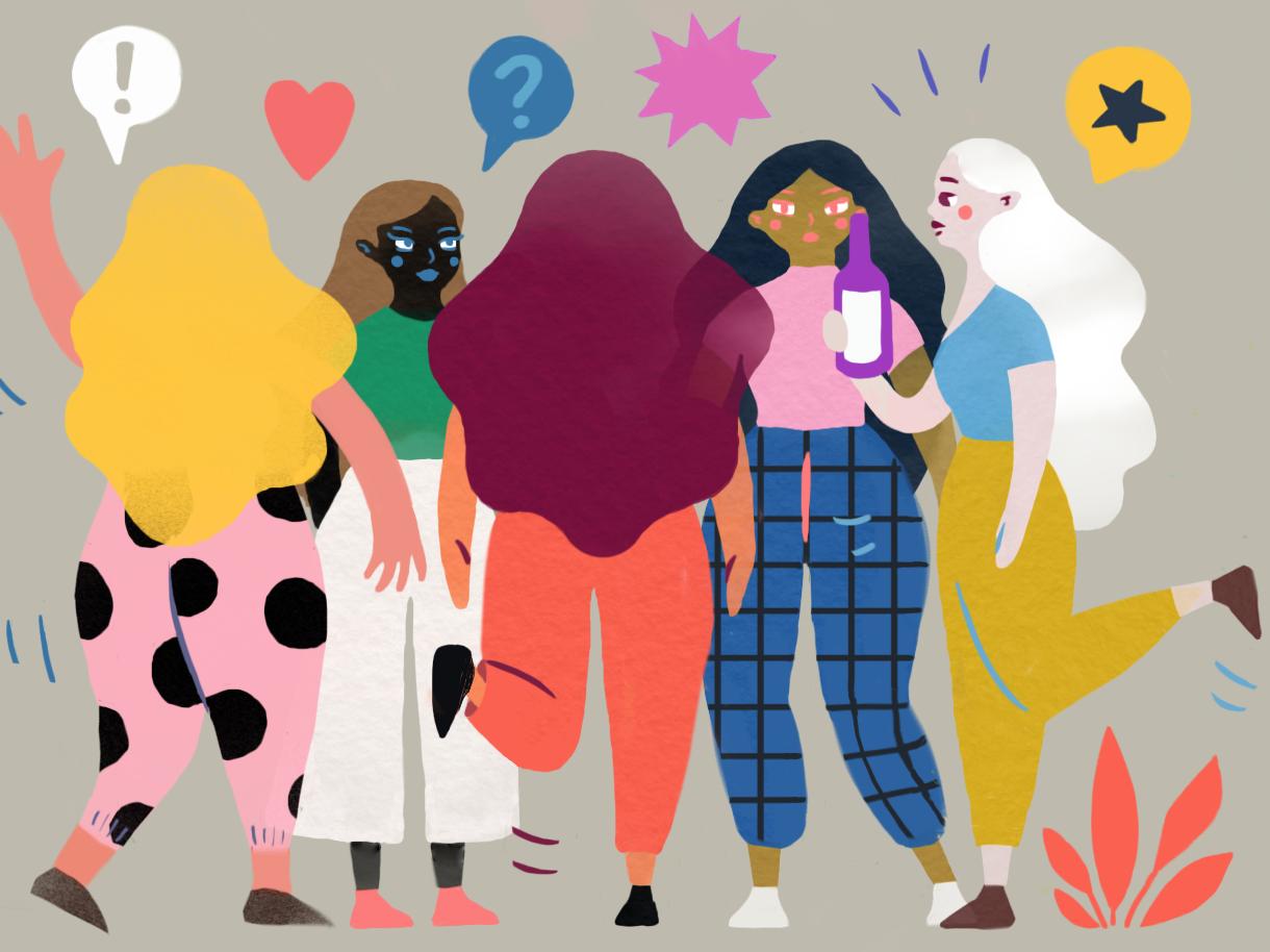 Fiesta de chicas curvy wavy colorful art party girls character art character design characterdesign