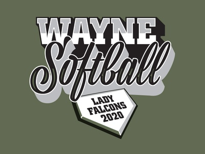 Wayne Softball Lady Falcons 2020 home plate sports badge sports text baseball text sports apparel sports apparel softball shirt iowa softball