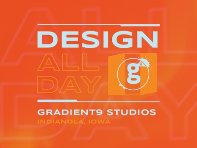 Design All Day badge emblem type text web design studios iowa gradients gradient gradient9