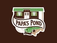 Papa's Pond Logo badge fishing logo iowa outdoors logo outdoors fish logo summer lake fish bass cabin pond fishing