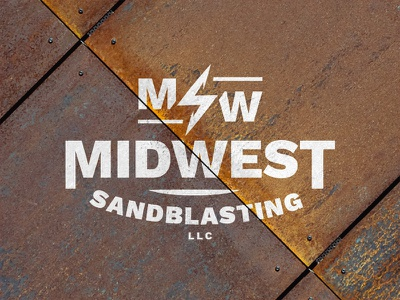Midwest Sandblasting Logo iowa badge emblem tools metal rust construction manual labor labor sandblasting logo midwest