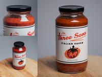 Three Sons Italian Sauce Packaging