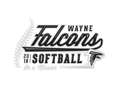 2018 Wayne Falcons Softball Shirt Graphic