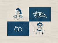 Save The Date Illustrations and Wordmark