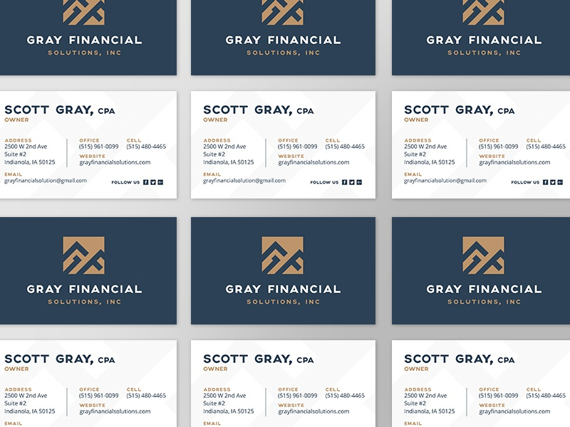 Gray Financial Business Cards iowa monogram branding business card solutions taxes financial