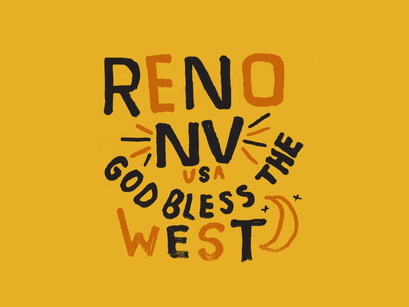 God Bless the West moon gritty typography hand drawn type hand drawn text sand type western cactus desert state usa god bless god west las vegas reno nevada