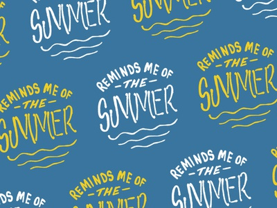 Reminds Me Of The Summer season sun pattern typography text badge waves hand drawing hand drawn type hand drawn text summer camp summer