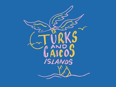 Turks and Caicos Islands trip travel coast hand lettering summer cruise palm leaf vacation sand beach bahamas tropics tropical breeze palm palm tree island
