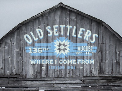 Old Settlers 2019 vintage letters mural paint wood vintage text sign painting sign painter geometric barn quilt midwest quilt iowa barn