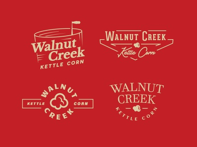 Walnut Creek Kettle Corn Logo Options iowa food branding branding walnut creek creek walnut popcorn corn kettle corn