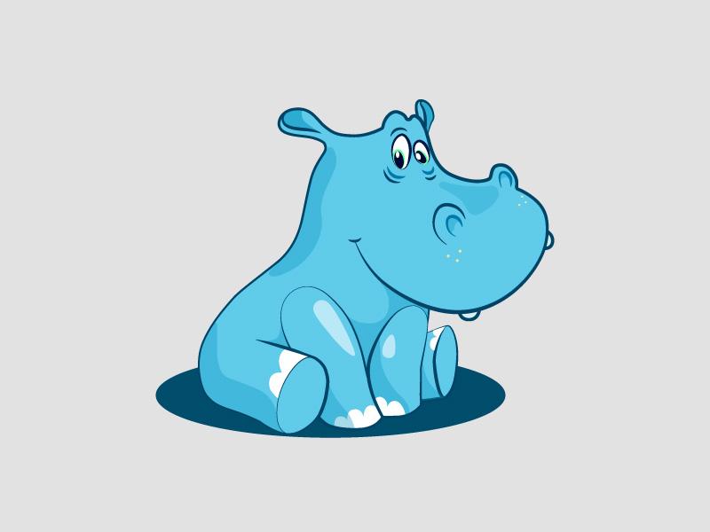 Hippo character animals hippopotamus