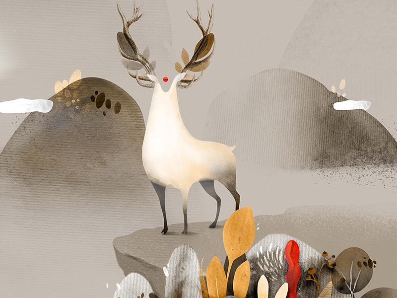 Deer With Secret Sign watercolor flora mythology sign deer illustration georgia