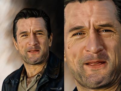 Robert De Niro robert de niro hollywood digital painting painting drawing leather jacket portrait