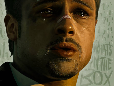 What's in the box?! brad pitt hollywood seven tear sadness face portrait david fincher bandaid blood eyes digital painting painting drawing