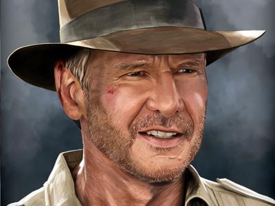 Indiana Jones indiana jones hollywood harrison ford hat adventure stubble portrait digital painting painting drawing grin smile