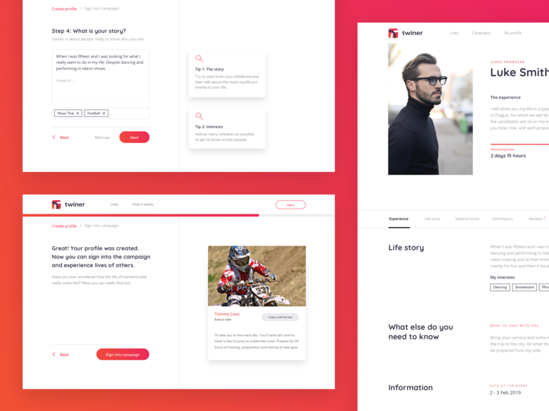 Twiner – Experience the life of someone else. user center design user interface people platform life-sharing ux ui interface sketch design app