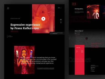 Website for World of Franz Kafka contrast black dark exhibiton gallery ui ux design kafka website web