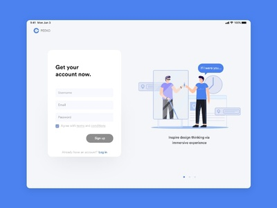 PEEKO on-boarding interface design app ui illustration design