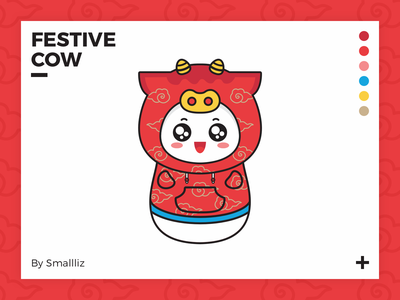 Festive Cow happy cow festive ui cute illustration design flat icon