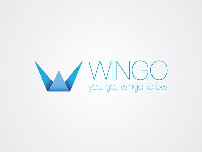 Logo Wingo design creative icon symbol mark logotype logo crown blue folding shop fashion