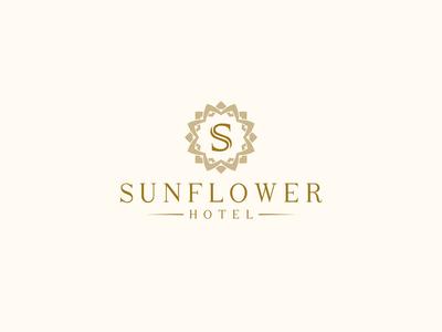 Logo Sunflower Hotel 06 icon branding hotel symbol sunflower logotype brand logo flower yellow typeface font