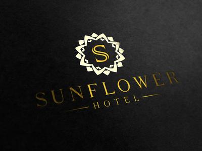 Logo Sunflower Hotel 12 creative icon symbol mark logotype logo yellow hotel flower mockup sunflower classical
