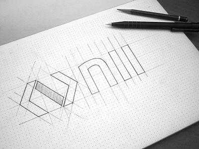 Logo Nii Sketch icon sketch logo identity design mark type branding logotype construction colors fonts