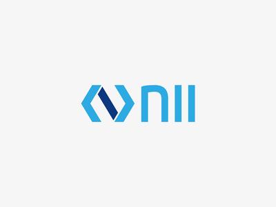 Logo Nii identity logo branding typography black and white logotype hand technology blue develop