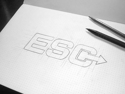 Logo Esc Sketching logo logotype design branding sketch mark type identity colors construction fonts icon