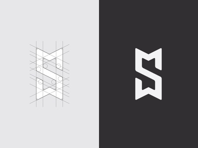Concept design logo SM monogram icon design symbol mark type brand grid indentity branding logotype logo