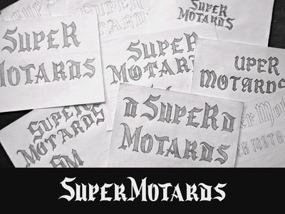 Logo Super Motards gothic motard grid system building process lettering identity branding design creative mark logotype logo