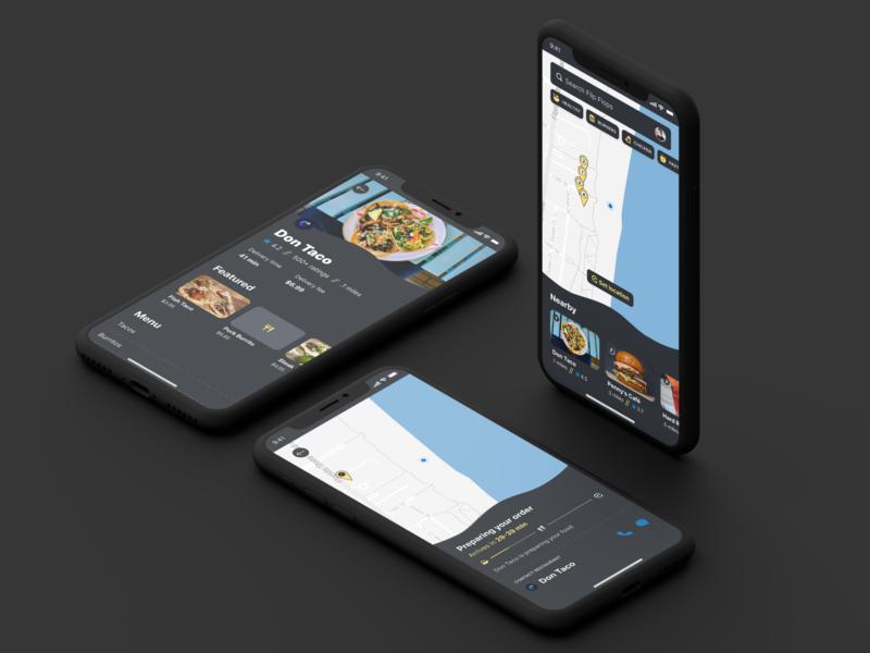 Beach Side Food Delivery figma food app dark mode iphone x product design ux design ui design ios app design