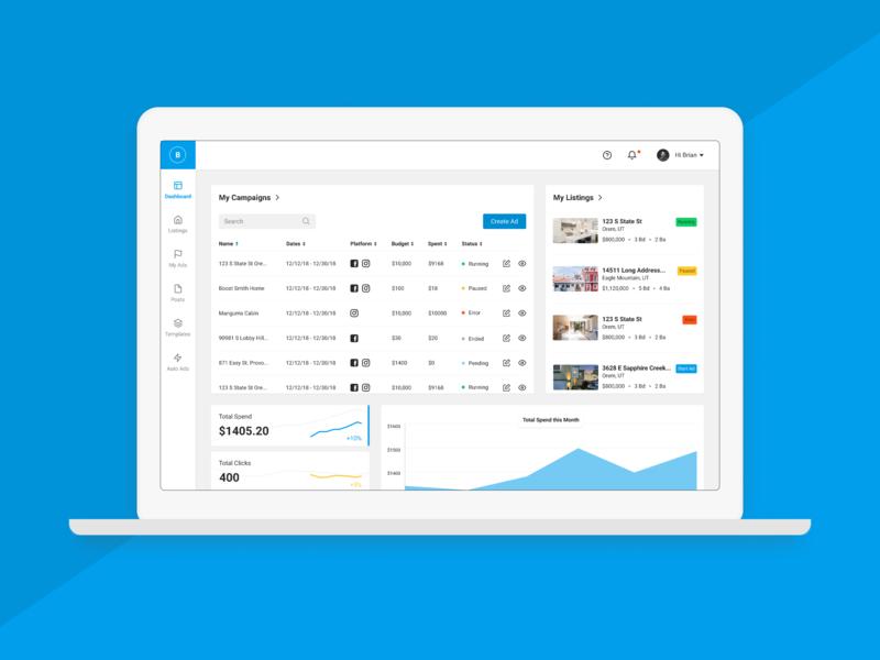 Ad Platform Dashboard figma web app web deisgn dashboad digital ads advertising