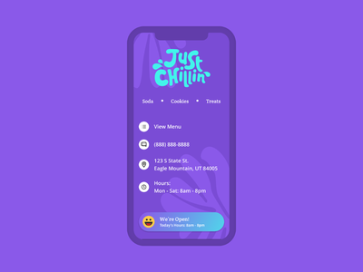 Just Chillin Soda Shack Website scss jquery javascript css html figma web developement branding responsive design web  design