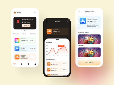 Subscription manager | iOS app mobile ui payment app finance money keeper subscription app design ios dashboard ux ui app fintech app subscription manager