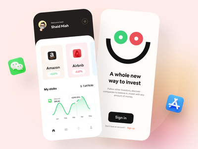 Investment Bank Mobile App app design investing card mobile app stock market investor trading financial finance app trade invest fintech mobile bank investment app bank app sell buy