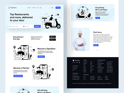 Restaurant Food Delivery Landing page illustration landing restaurant app restaurant landing page delivery landing page website design product design food delivery restaurant website food webstie