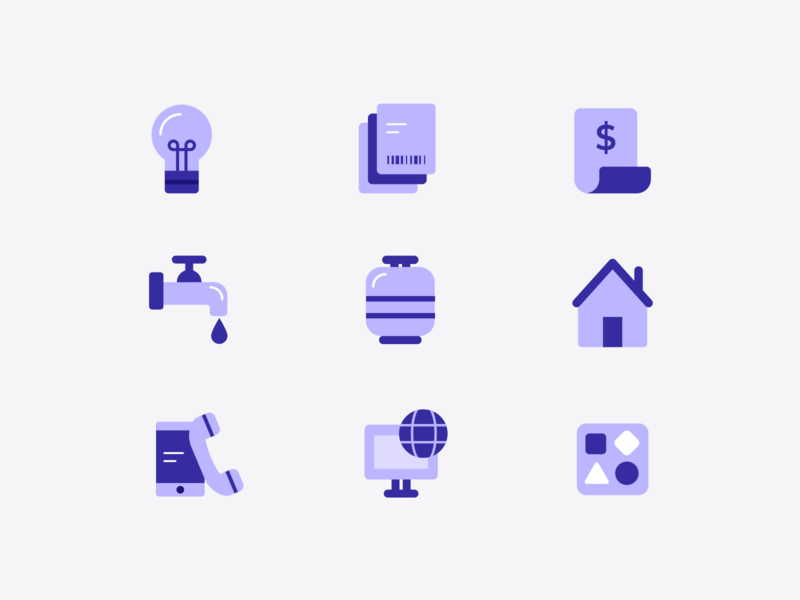 household bills illustration vector art icons pack taxes bills utility telecom iconset icon design vector icons household