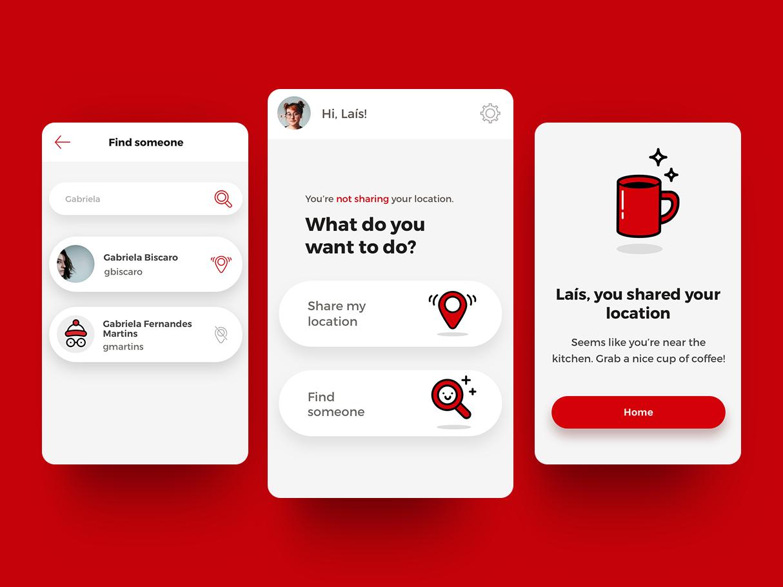foundya app share location red icons app design app found