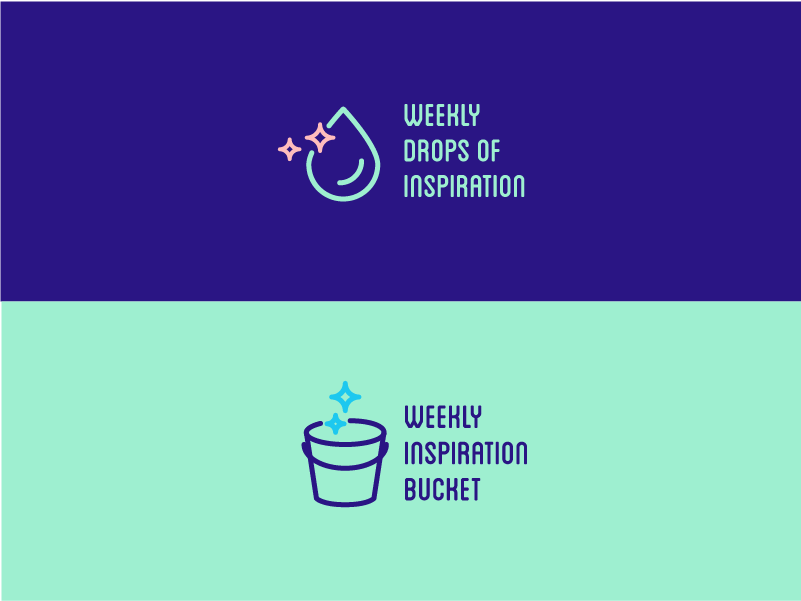 weekly drops of inspiration logo design logo raccoon bucket drop weekly meeting icons illustration