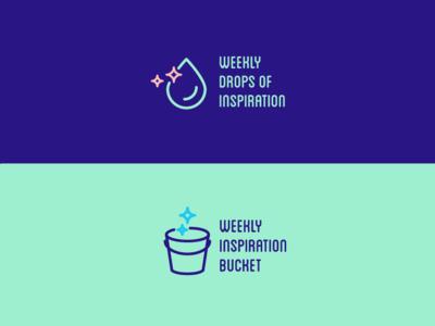 weekly drops of inspiration logo design logo raccoon bucket drop weekly meeting icons illustration