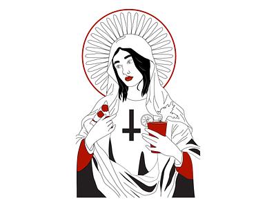 Saint Bloody Mary, Patron of pizza halo bloody mary pizza vector
