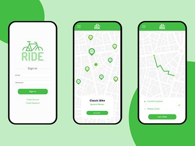 Bike/Scooter App branding app concept logos design ux  ui app design