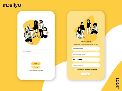 Daily UI Challenge  #1 Sign Up Screen open peeps app design app concept design mobile design mobile ui mobile app ui uidesign dailyuichallenge dailyui 001 dailyui