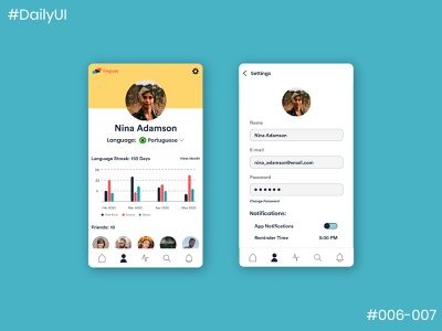 Daily UI Challenge #6 & 7 User Profile & Settings Page app settings page settings ui user profile dailyui007 dailyui006 ui dailyuichallenge app design dailyui app concept