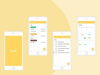 DoneIt app concept ux ui branding design app design