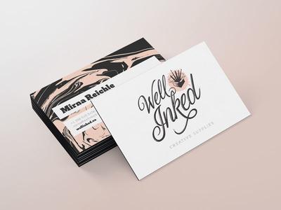 Well Inked Brand Identity - Business Card business card script font brand identity logo design wordmark supplies art script branding brand logo