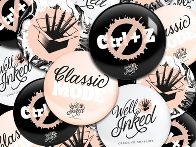Well Inked Brand Identity - Buttons script font brand identity logo design button pin supplies art script branding brand logo